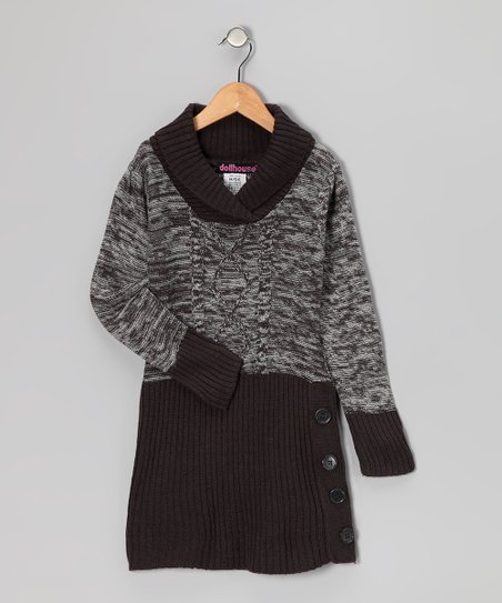 Gray Shawl Collar Sweater Dress - Girls