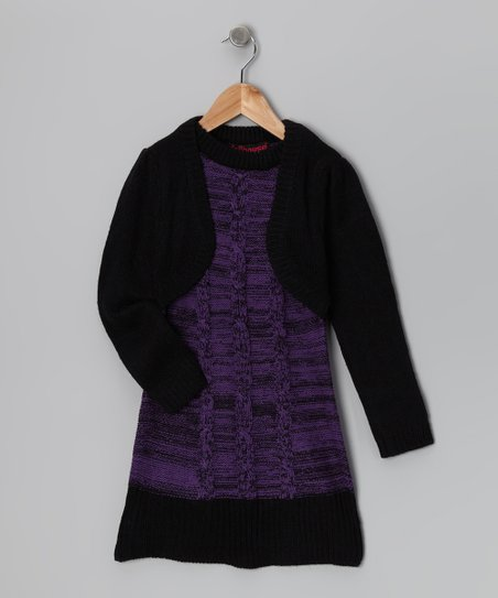 Purple & Black Layered Sweater Dress - Girls