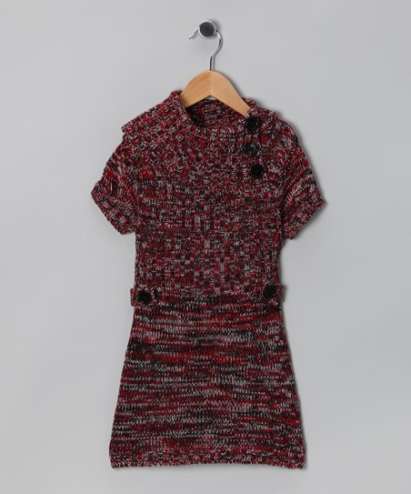 Red & Black Heather Split-Neck Sweater Dress - Girls
