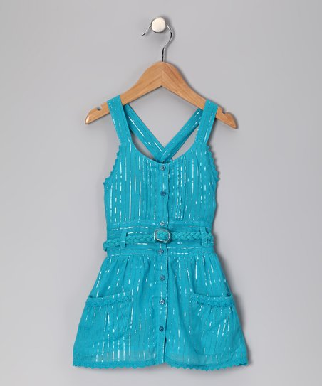 Turquoise Cross-Back Dress - Girls