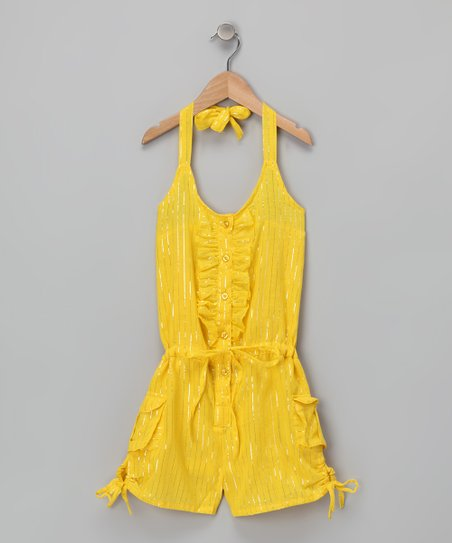 Yellow Halter Romper - Girls