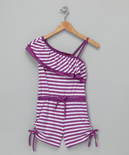 Purple Stripe Asymmetrical Romper - Girls