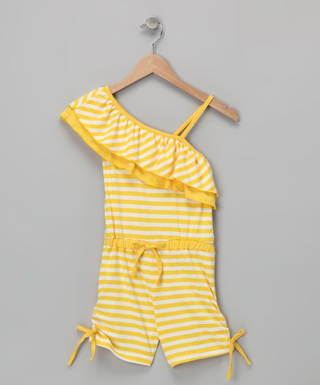 Yellow Stripe Asymmetrical Romper - Girls