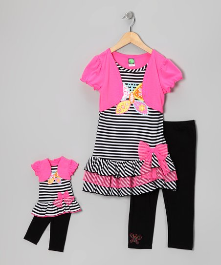 Pink Butterfly Layered Dress Set & Doll Outfit - Girls