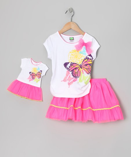 White Butterfly Tee Set & Doll Outfit - Girls