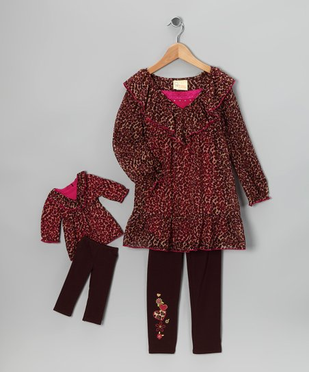Dollie & Me Brown Cheetah Leggings Set & Doll Outfit - Girls