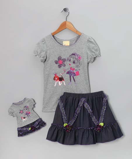 Gray Beagle Tee Set & Doll Outfit - Girls