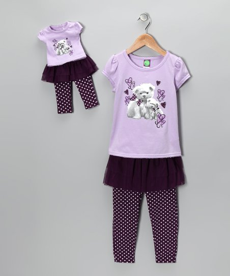 Purple Puppy Tee Set & Doll Outfit - Toddler