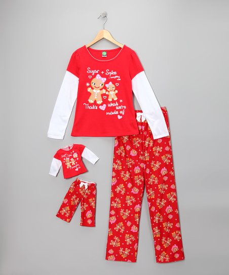 Dollie &amp; Me Red Gingerbread Pajama Set &amp; Doll Outfit - Girls