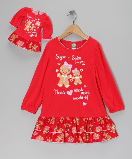 Red Gingerbread Nightgown & Doll Outfit - Girls