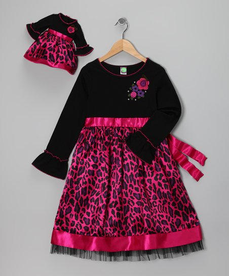 Fuchsia Cheetah Dress & Doll Outfit - Girls