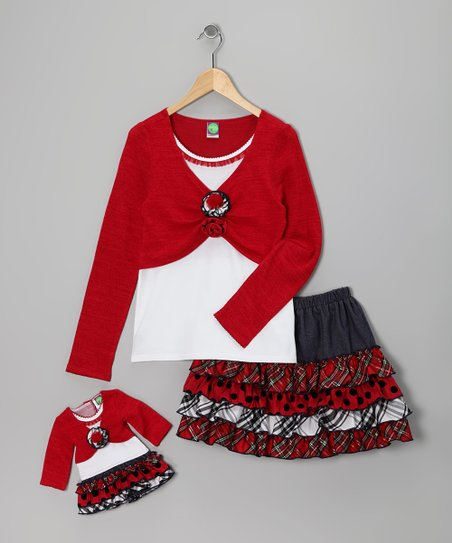 Dollie &amp; Me Red Plaid Skirt Set &amp; Doll Outfit - Girls