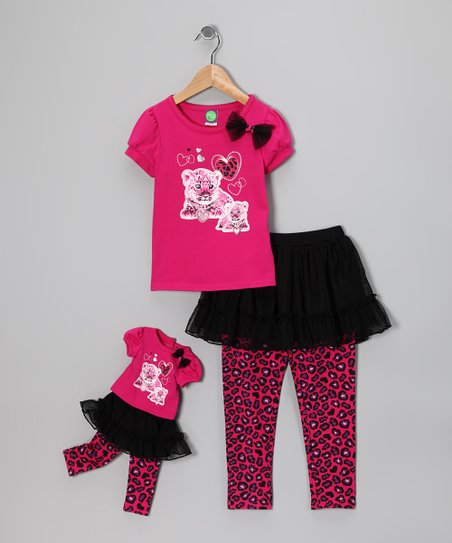 Pink Skirted Leggings Set & Doll Outfit - Girls