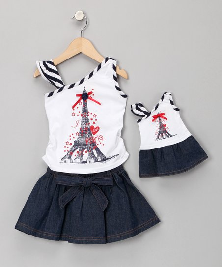 Navy Skirt Set & Doll Outfit - Girls