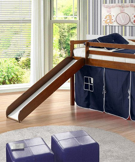 Blue & Brown Twin Tent Loft Bed & Slide
