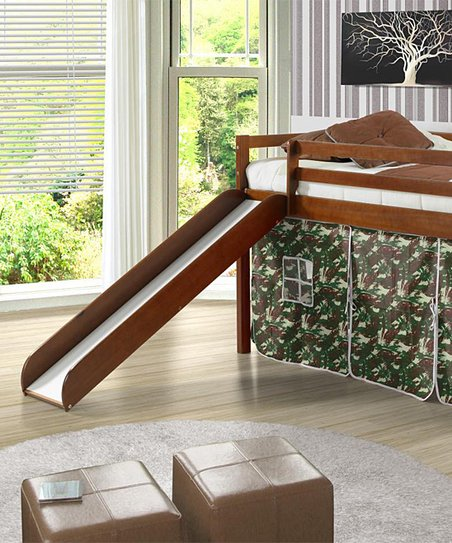 Donco Kids Camo &amp; Brown Twin Tent Loft Bed &amp; Slide