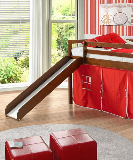 Red & Brown Twin Tent Loft Bed & Slide