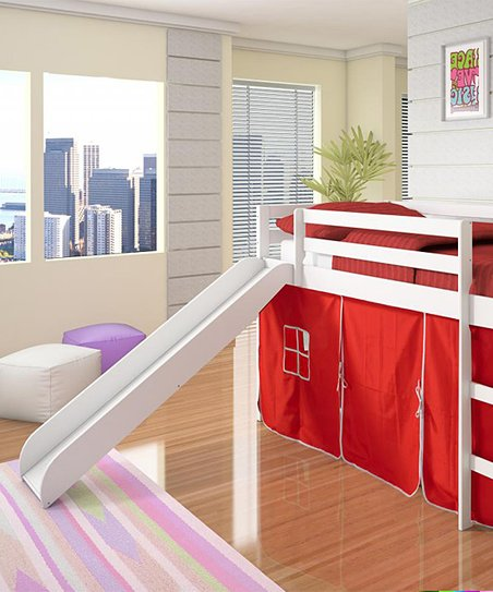 Red & White Twin Tent Loft Bed & Slide