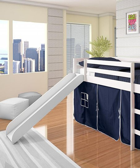 Blue & White Twin Tent Loft Bed & Slide