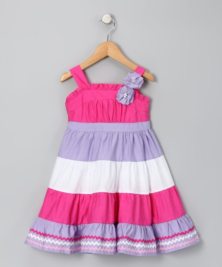 Lilac & Magenta Stripe Dress - Infant, Toddler & Girls