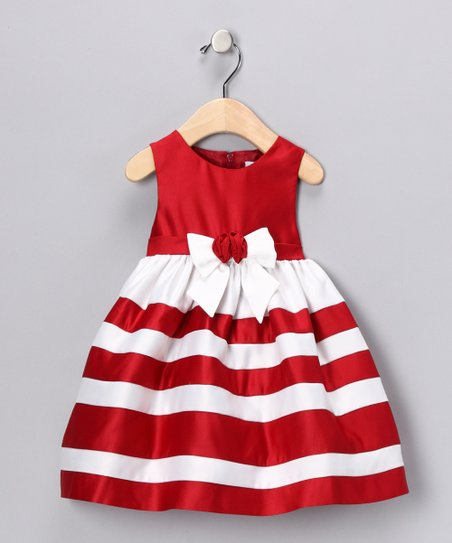 Red & White Stripe Dress - Infant, Toddler & Girls