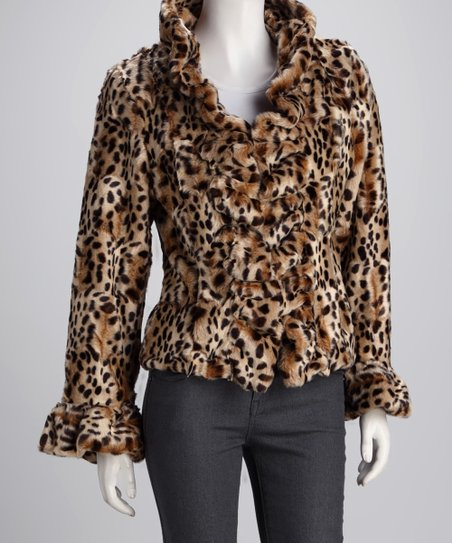 Leopard Ruffle Jacket - Women & Plus