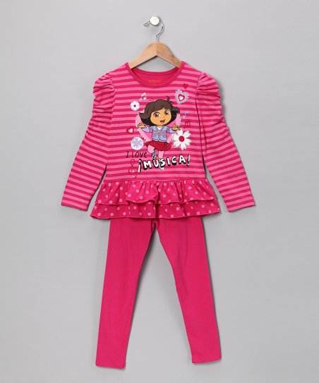 Dark Pink 'I Love Musica' Tunic & Leggings - Infant & Girls