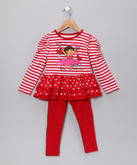 Red 'Dance With Me' Tunic & Leggings - Girls
