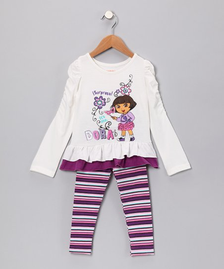 Beige 'It's Me, Dora' Tunic & Leggings - Girls