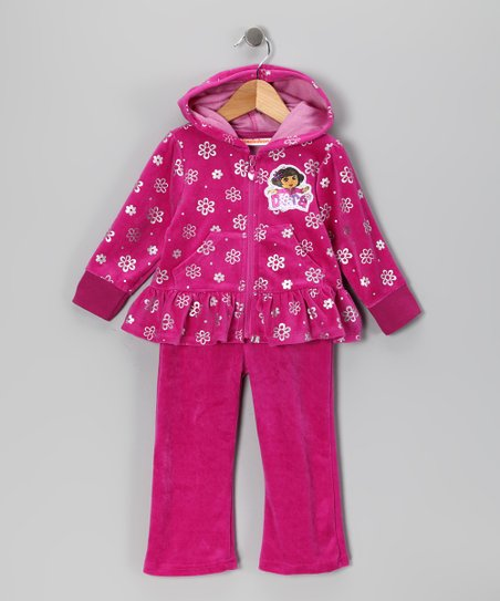 Pink Dora Velour Zip-Up Hoodie & Pants