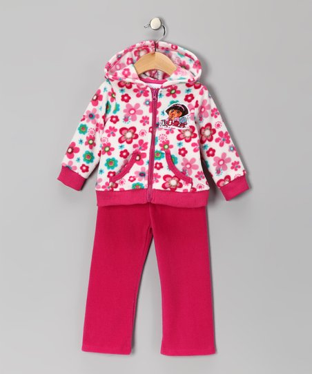 Beige Floral Dora Fleece Zip-Up Hoodie & Pants - Infant
