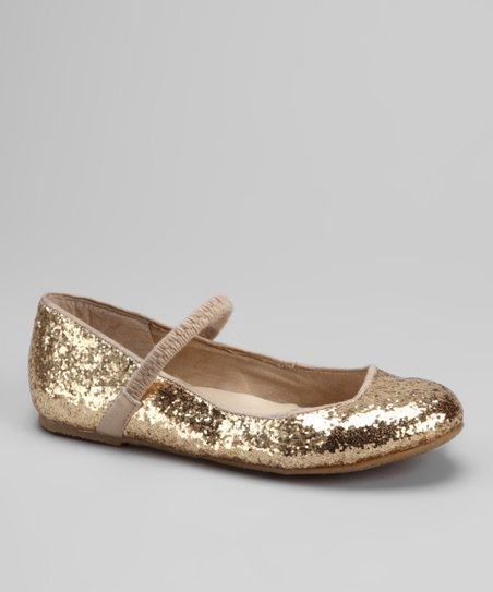 Dotty Shoes Gold Ridley Flat