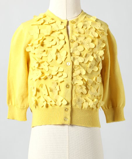 Creamy Gold Frosted Flowers Cardigan - Toddler & Girls