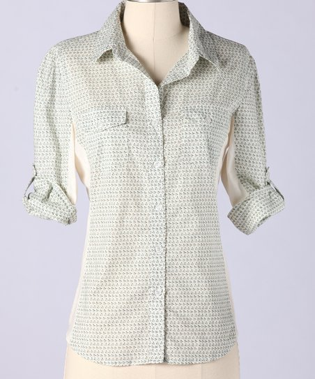 Sky Gray Buds Stow Away Button-Up