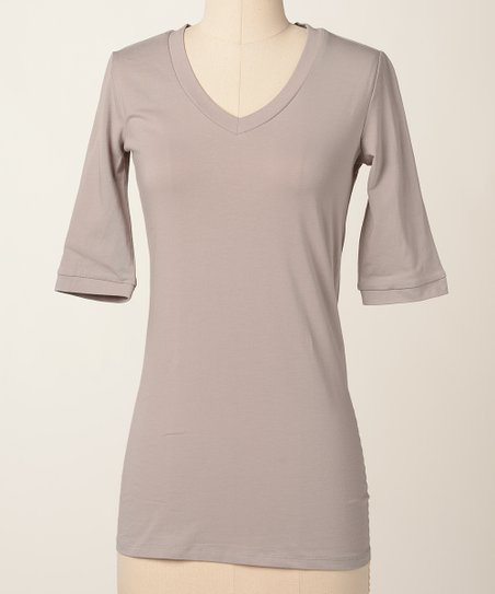 Gray Drizzle V-Neck Top