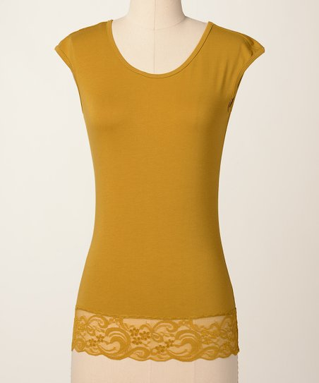 Amber Green Lace Cap-Sleeve Top