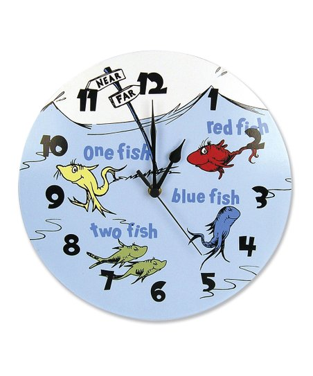 Blue 'One Fish Two Fish' Wall Clock