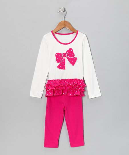 Fuchsia Bow Tunic & Leggings - Toddler