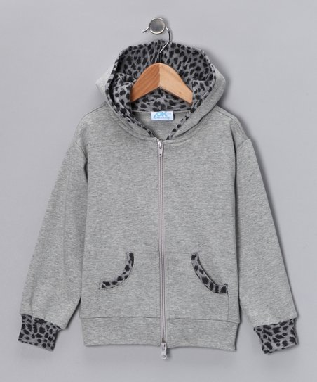 Gray Cheetah Zip-Up Hoodie - Infant, Toddler & Girls