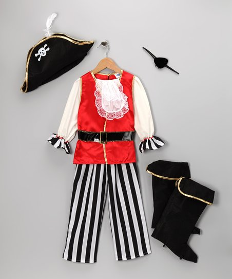 Black & Red Pirate Pants Dress-Up Set - Kids