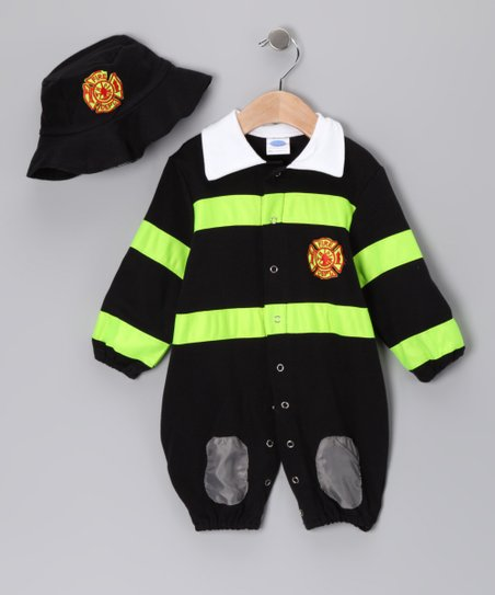 Black & Lime Firefighter Dress-Up Set - Infant