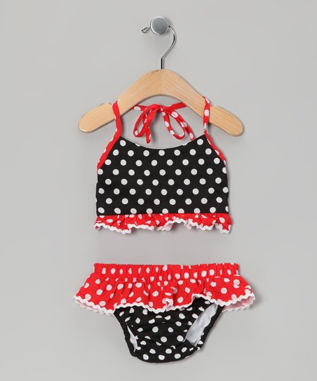 Black & Red Polka Dot Bikini - Infant & Toddler