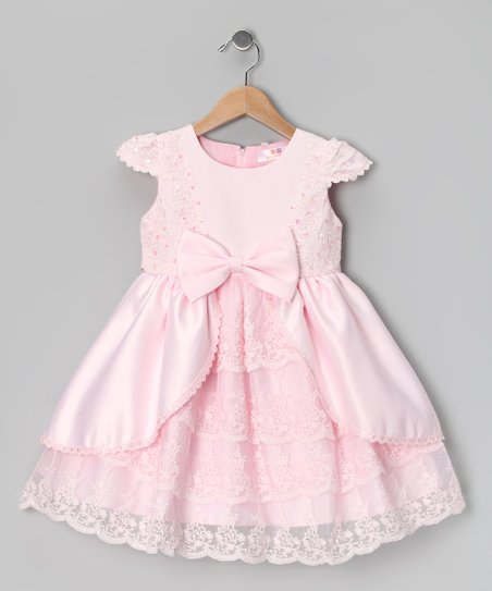 Light Pink Lace Ruffle Dress - Girls