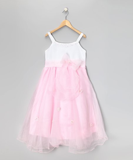 White & Pink Flower Dress - Girls
