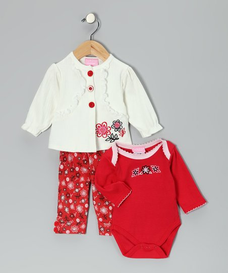 Red & White Floral Three-Piece Cardigan Set - Infant