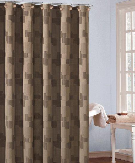 Beige & Chocolate Kallista Shower Curtain