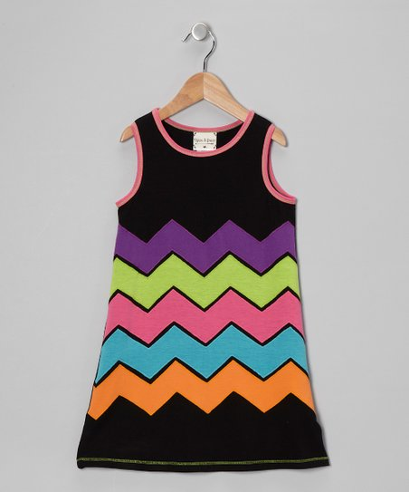 Black Neon Zigzag Dress - Girls