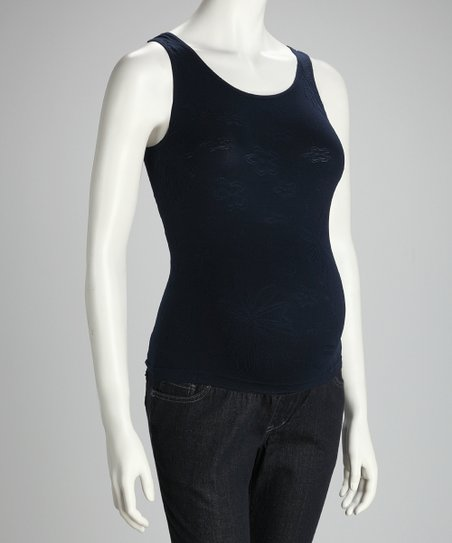 Navy Stretch-As-You-Grow Maternity Tank - Women &amp; Plus