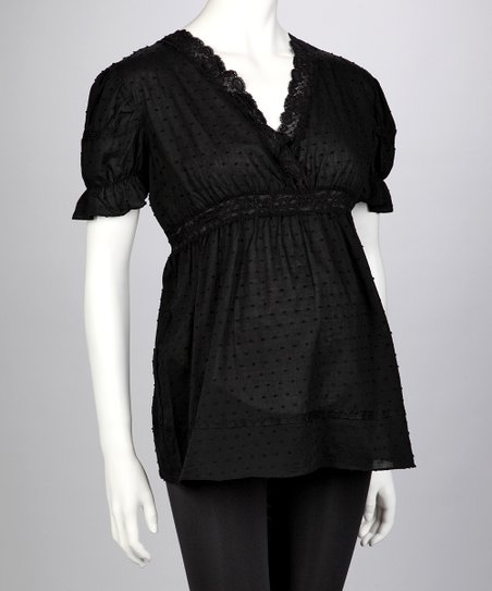 Black Maternity Puff-Sleeve Top