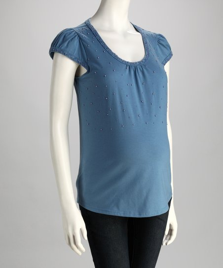 Blue Embellished Maternity Cap-Sleeve Top